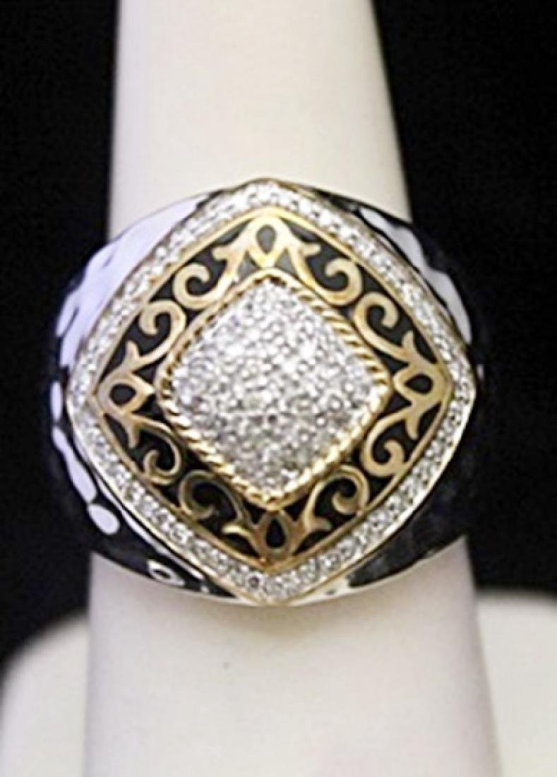 Unisex 14kt over Silver Ring with Black Enamel &