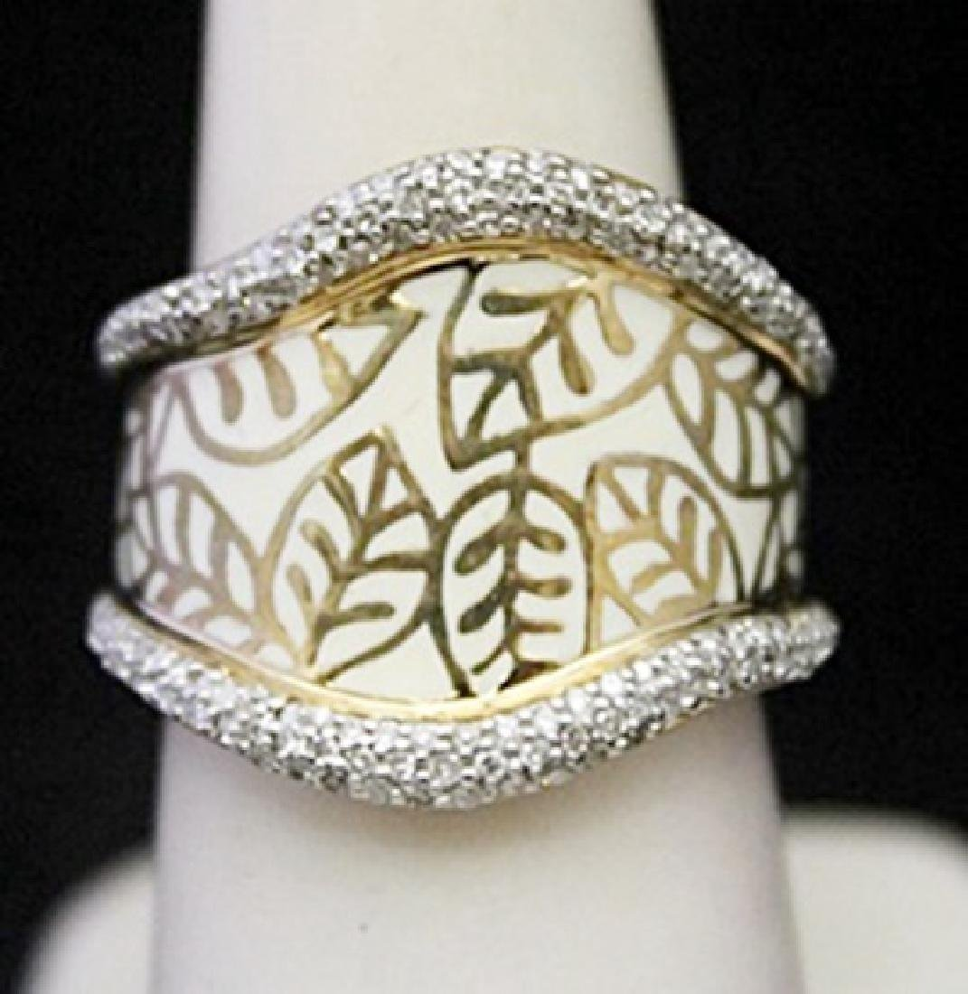 Beautiful 14kt over Silver Leafs Print Ring with