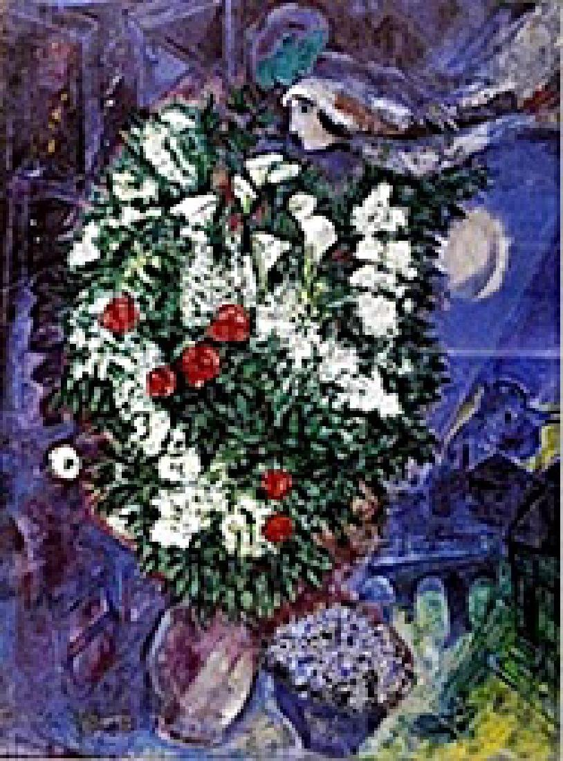 """Lithograph """"Bouqet with Flying Lovers""""  Marc Chagall"""