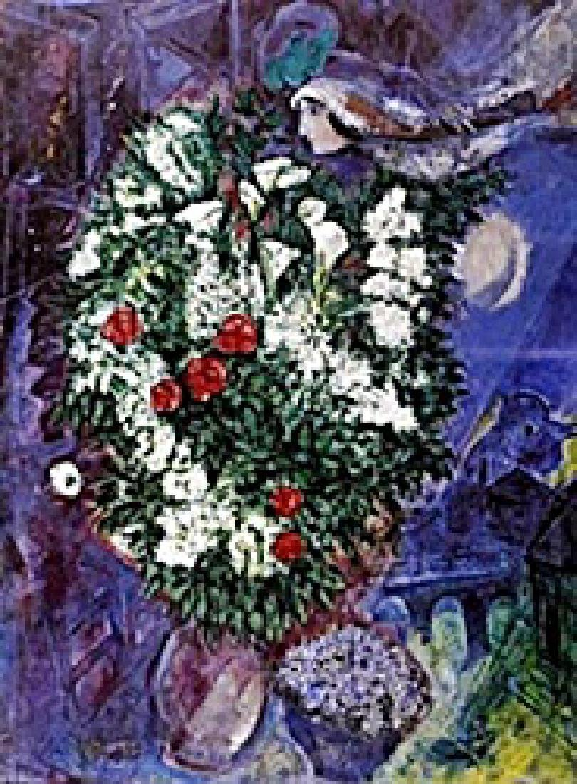 """Lithograph """"Bouqet with Flying Lovers""""  Marc Chagall - 2"""