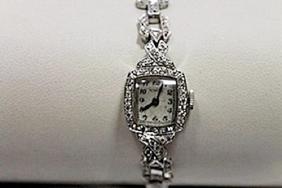 Elegant Antique Movado Diamonds Platinum Watch