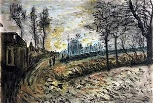 Route D Hiver - Alfred Sisley - Pastel On Paper