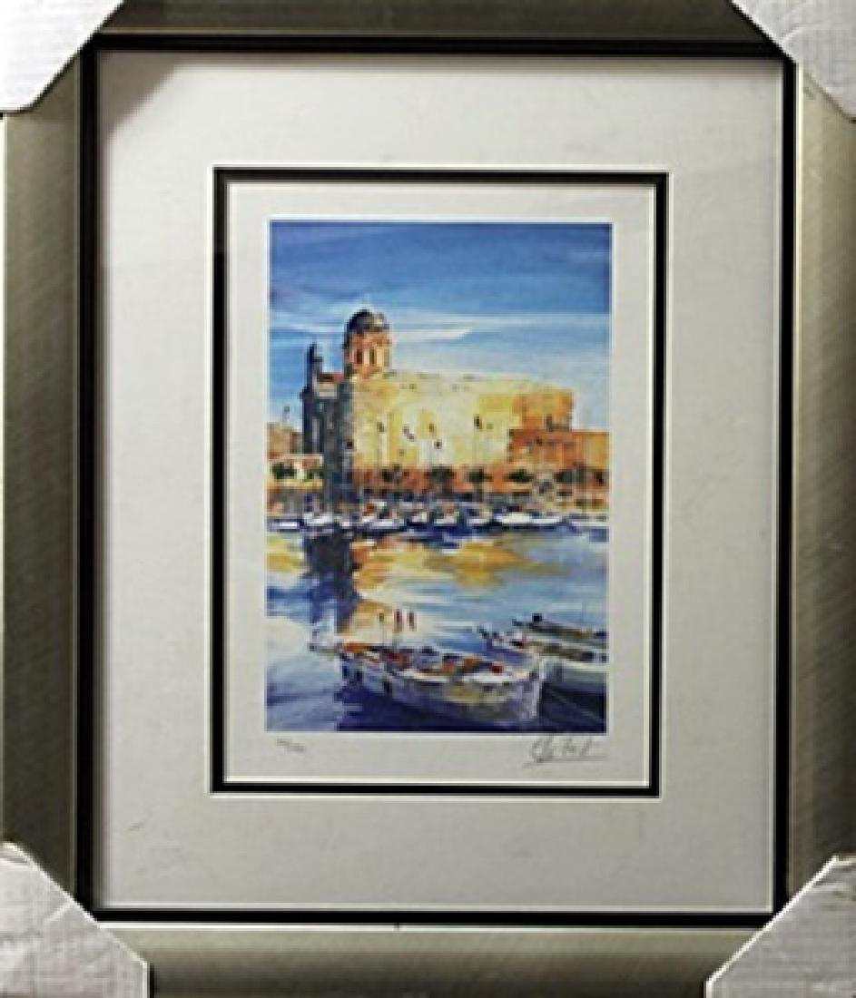 """Lithograph """"Harbor View"""" after Ella Fort"""