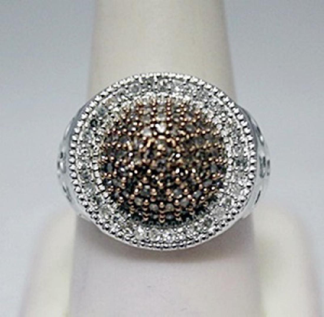 Fine Unisex Champagne & Canary Diamonds Silver Ring