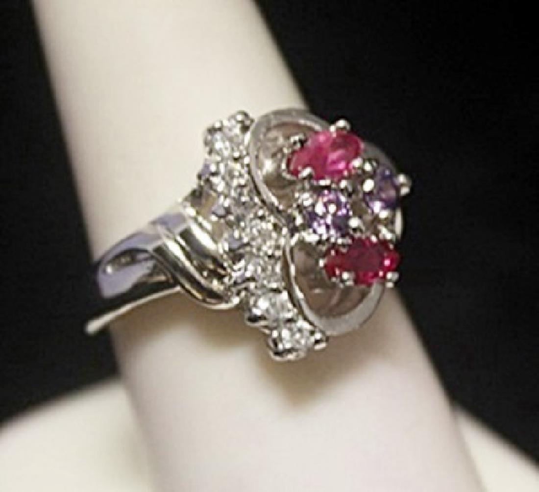 Dazzling Heart Shape Ruby & Diamonds Silver Ring
