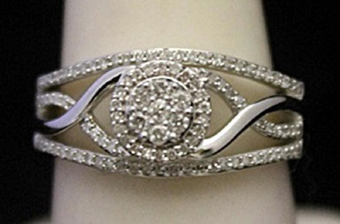 Fancy Silver Ring with Cluster Diamonds