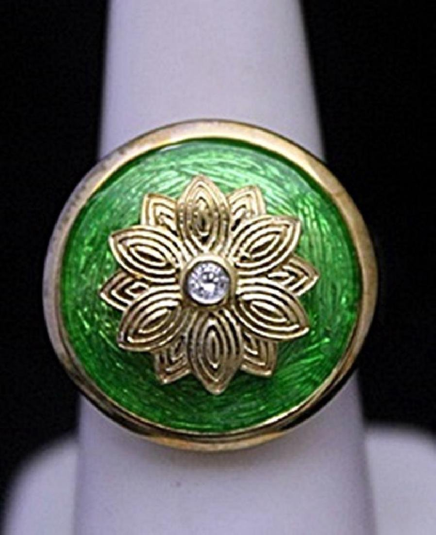 Fancy 14kt over Silver Ring with Emerald Enamel &
