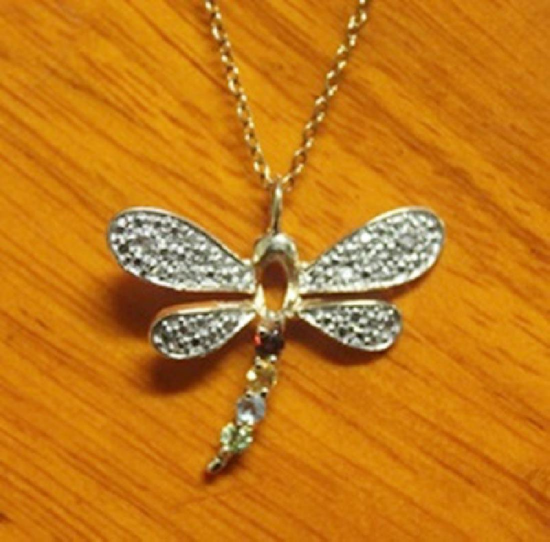 Beautiful Dragonfly Pendant with Diamond