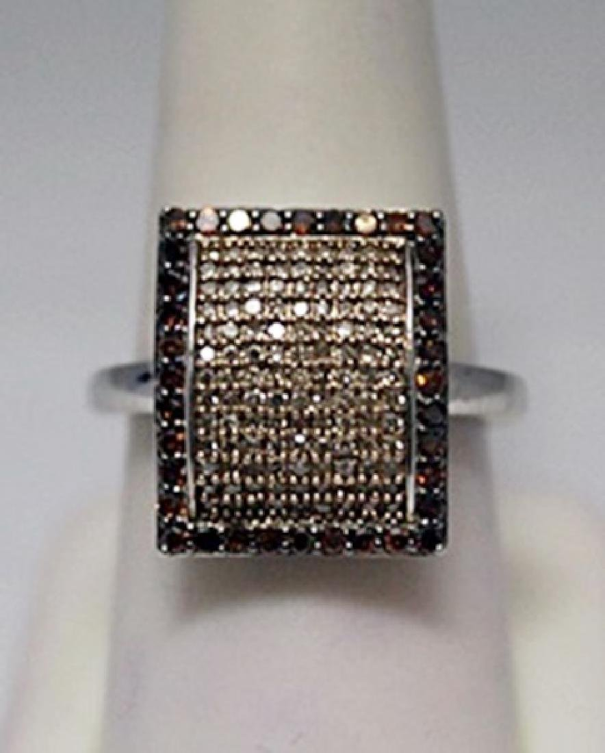 Very Fancy Champagne Diamonds Silver Ring