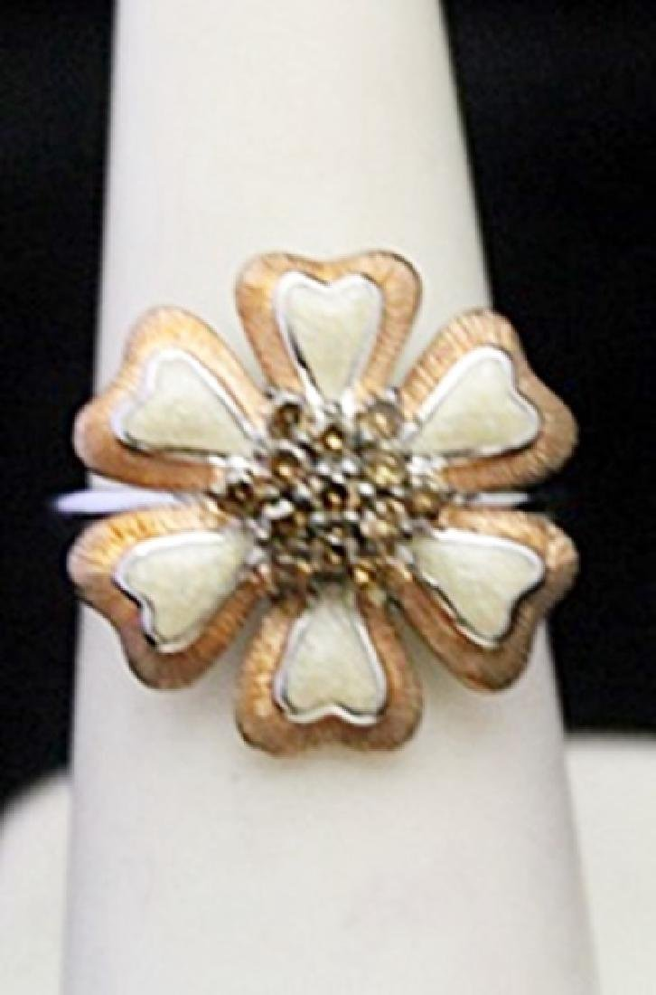 Fancy Silver Flower Shape Ring with Cognac Diamonds