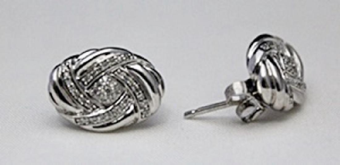 Lady's Fancy Silver Earrings with Diamonds