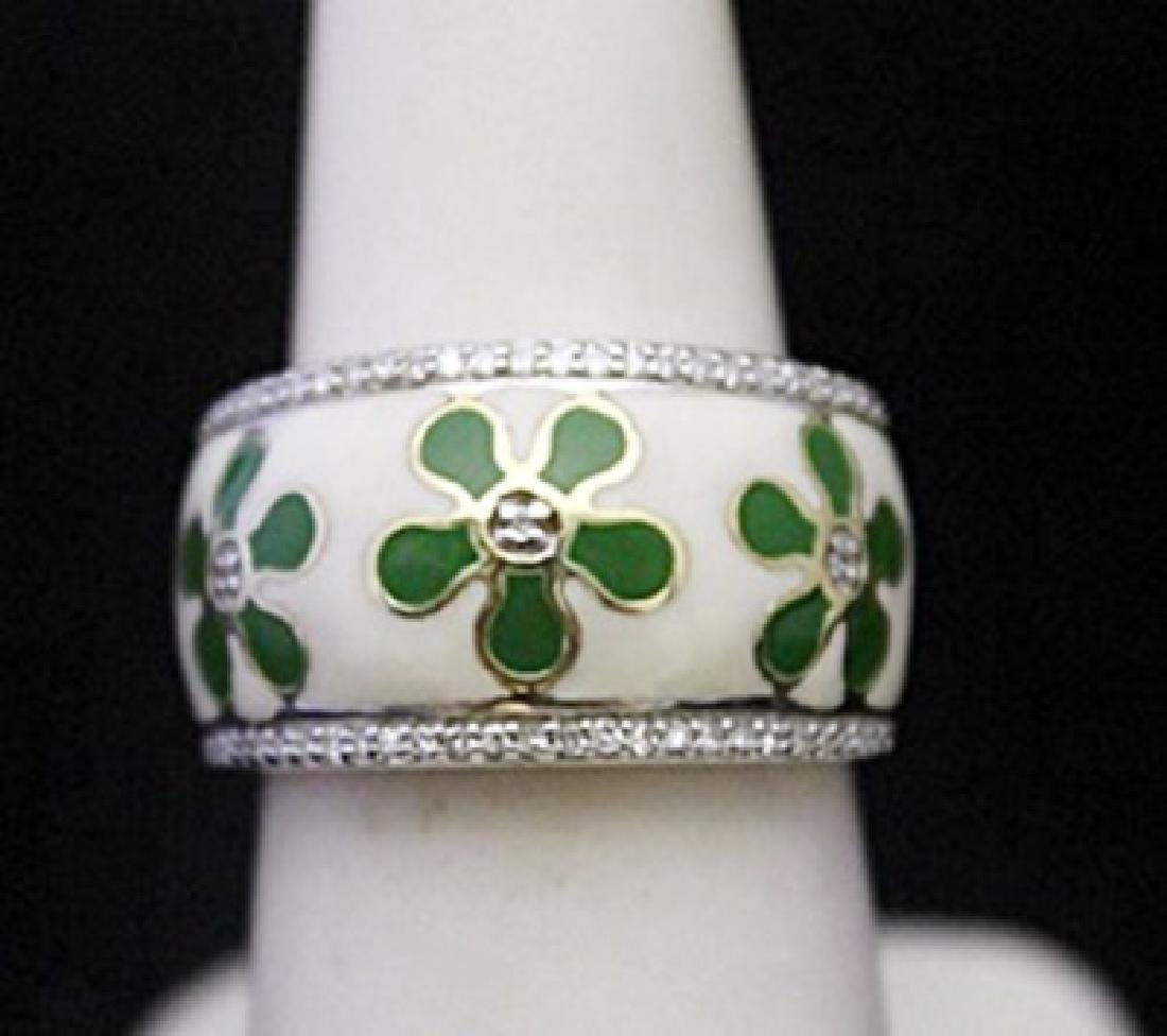 Beautiful Silver Ring with Mother of Pearl & Diamonds