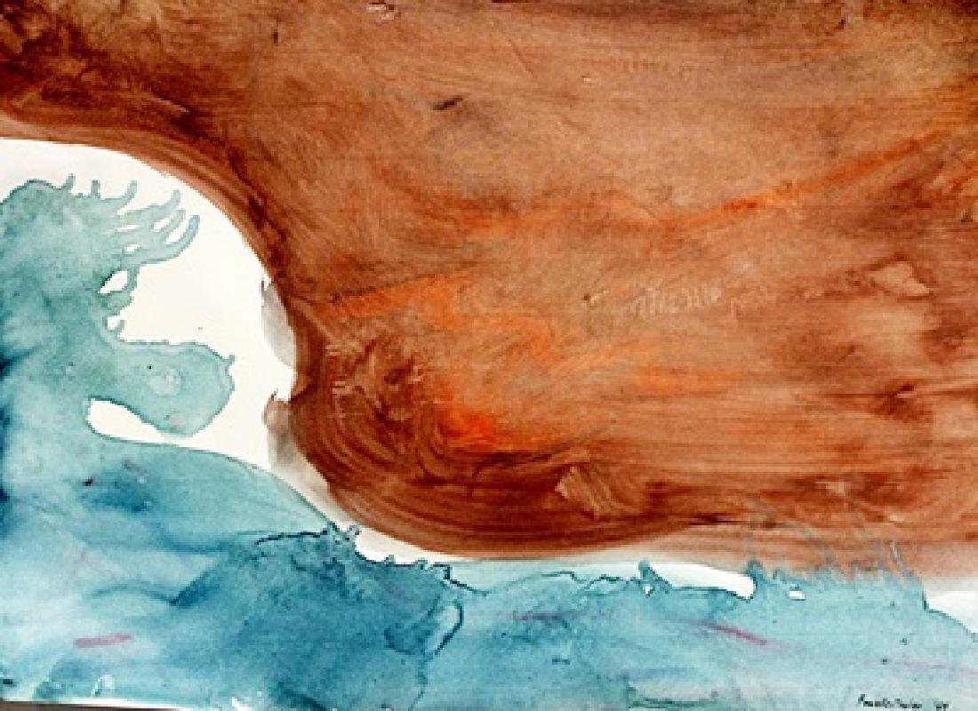 Red And Blue - Helen Frankenthaler - Oil On Paper