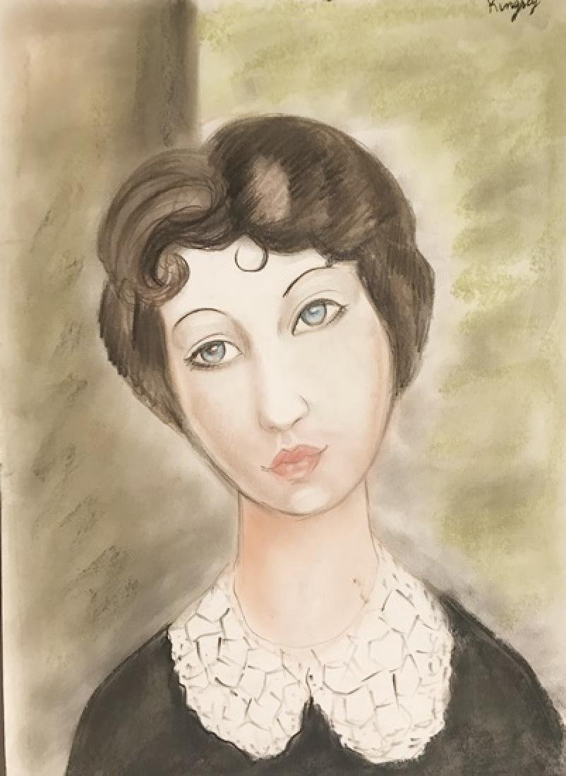 Portrait With Collar - Moise Kisling - Pastel On Paper