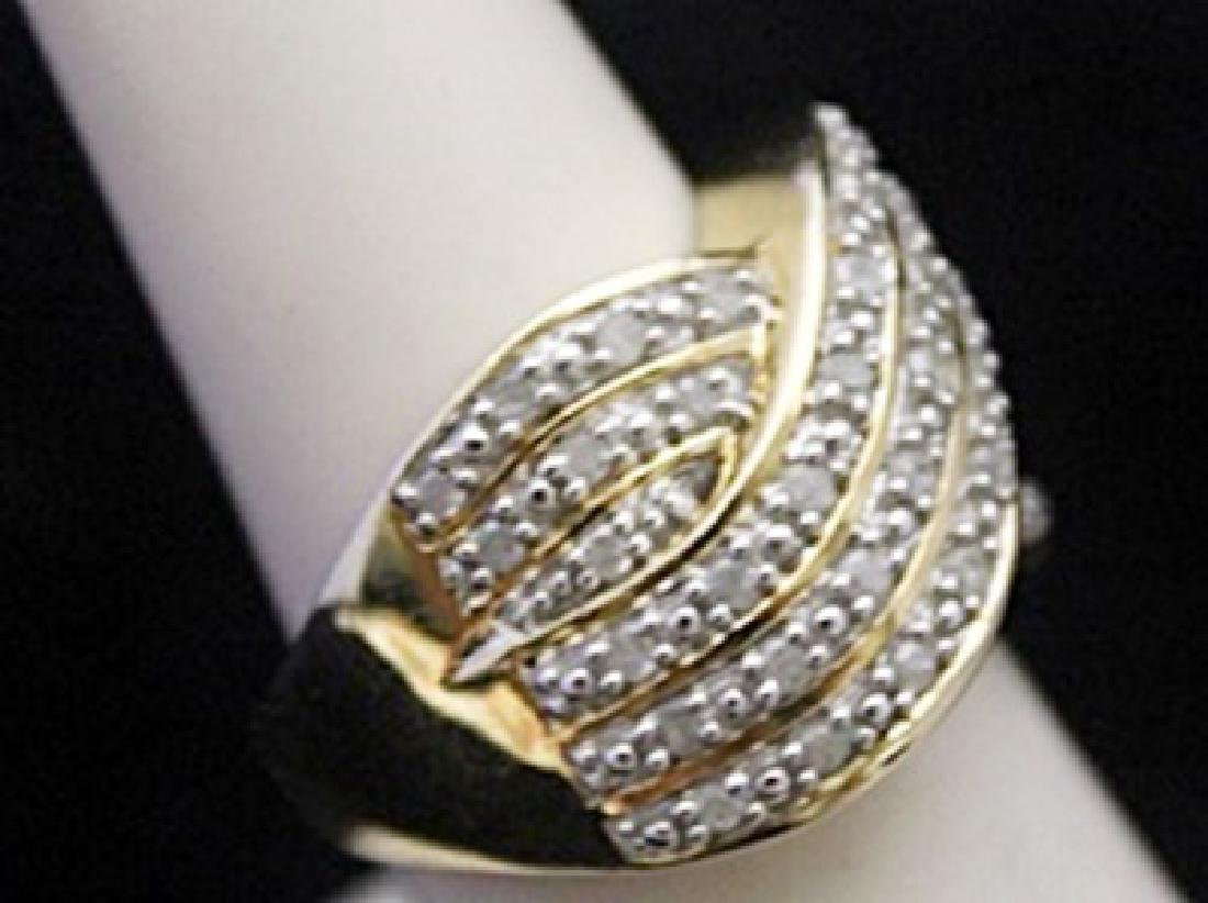 Fancy 14kt over Silver Ring with Cluster Diamonds - 2