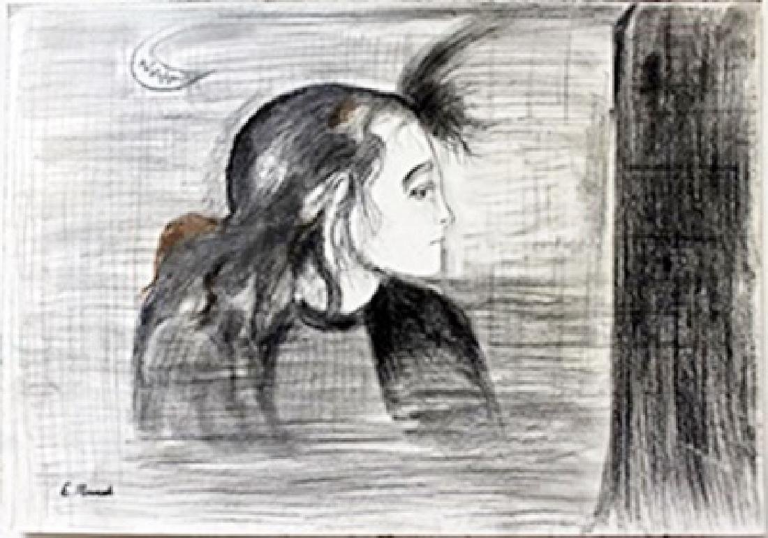 Drawing on Paper  Edvard Munch