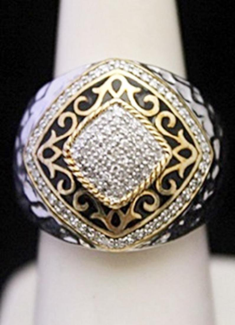 Unisex Fancy Silver Ring with Cluster Diamonds