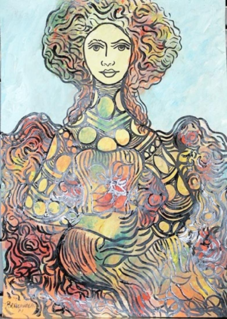 Woman With Flowers - Rene Portocarrero - Oil On Paper