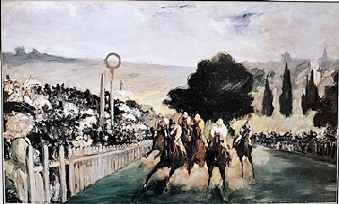 Races At Longchamp - Edouard Manet - Lithograph
