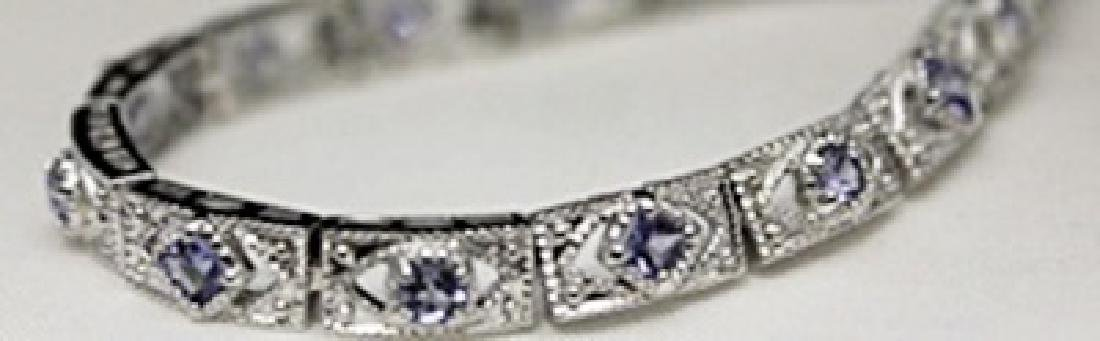 Very Fancy Silver Bracelet with Tanzanites