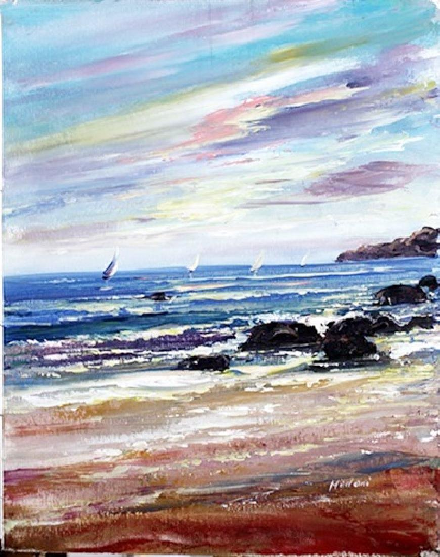 "Oil on Canvas ""Sailboat Scene"" - Madani"
