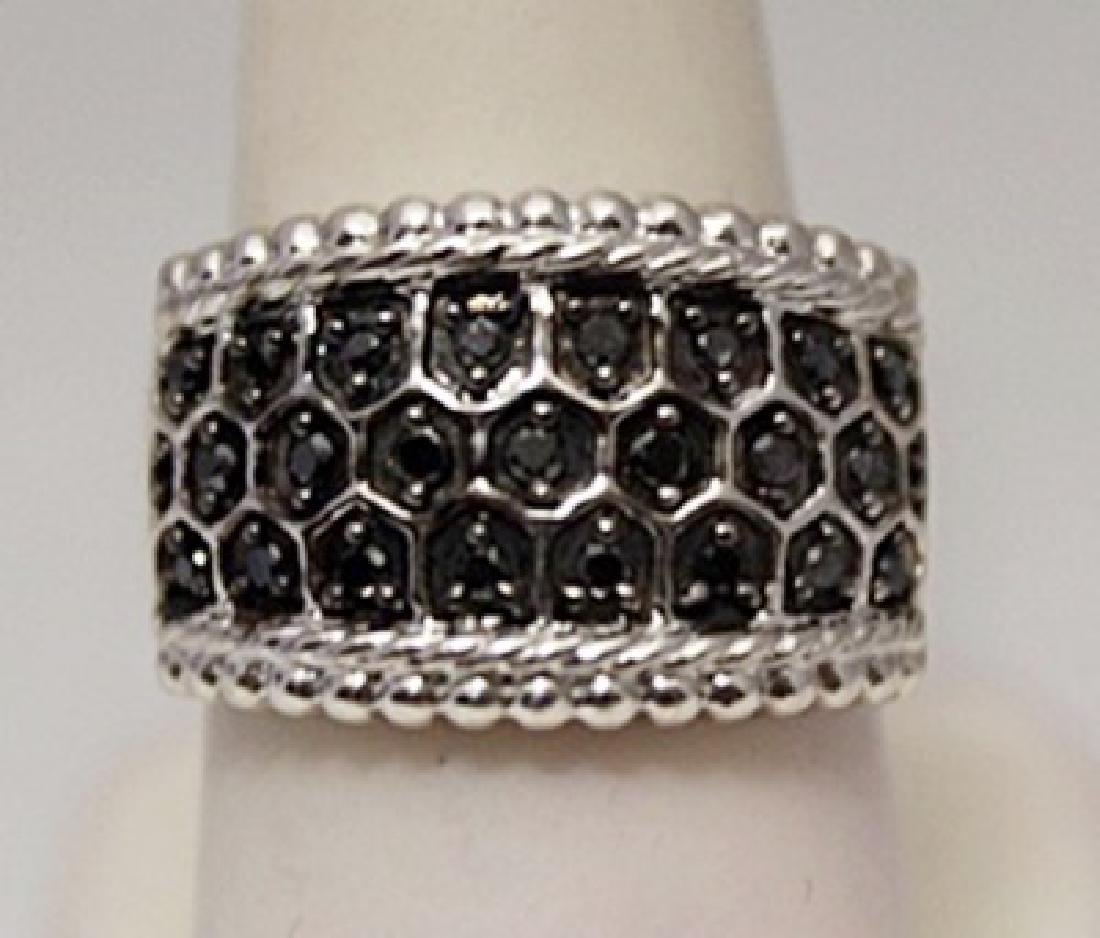 Exquisite Unisex Black Diamonds Silver Ring