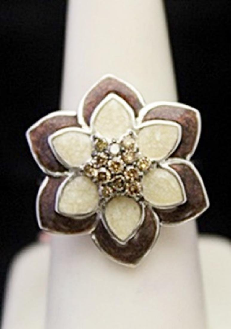 Gorgeous Silver Flower Shape Ring with Cognac Diamonds