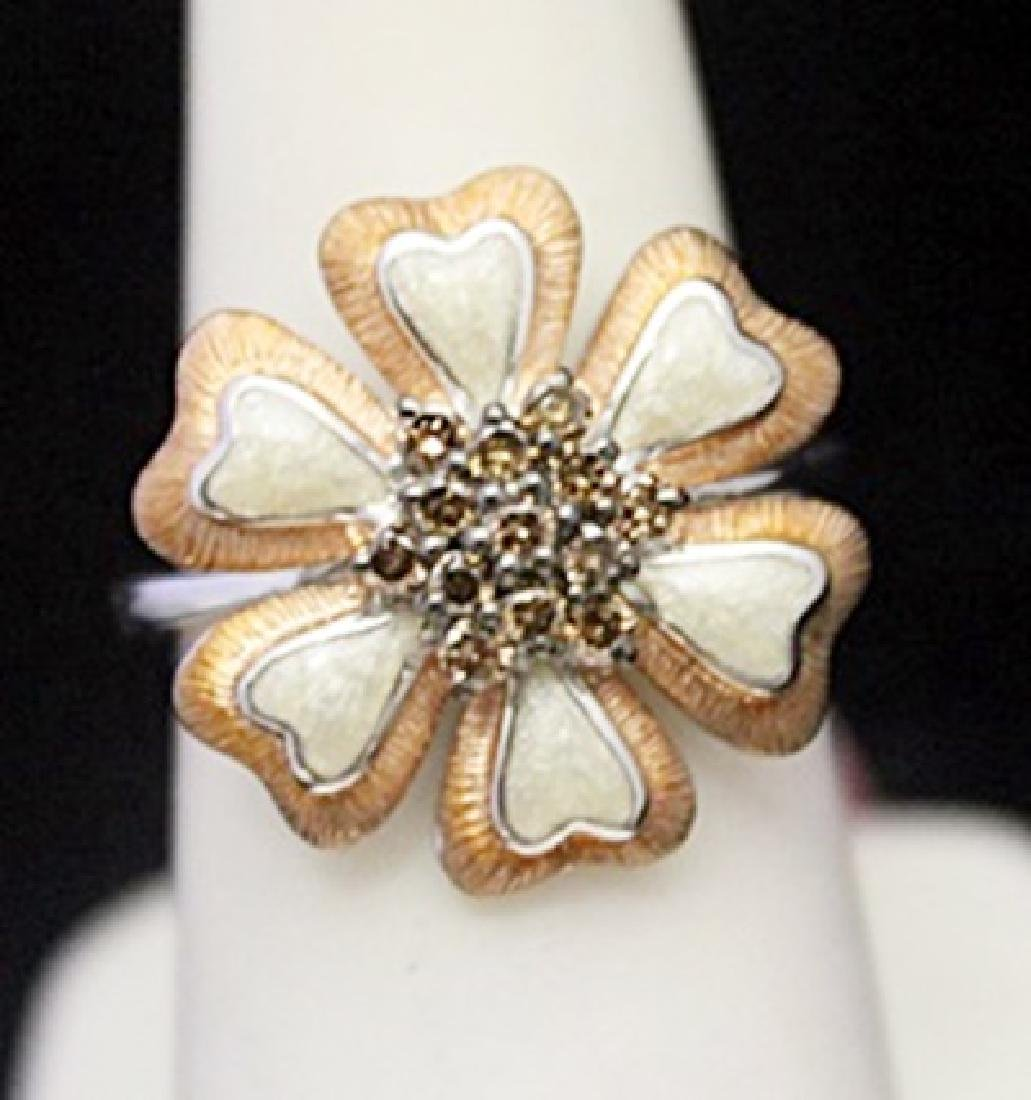 Fancy Silver Flower Shape Ring with Cognac Diamonds