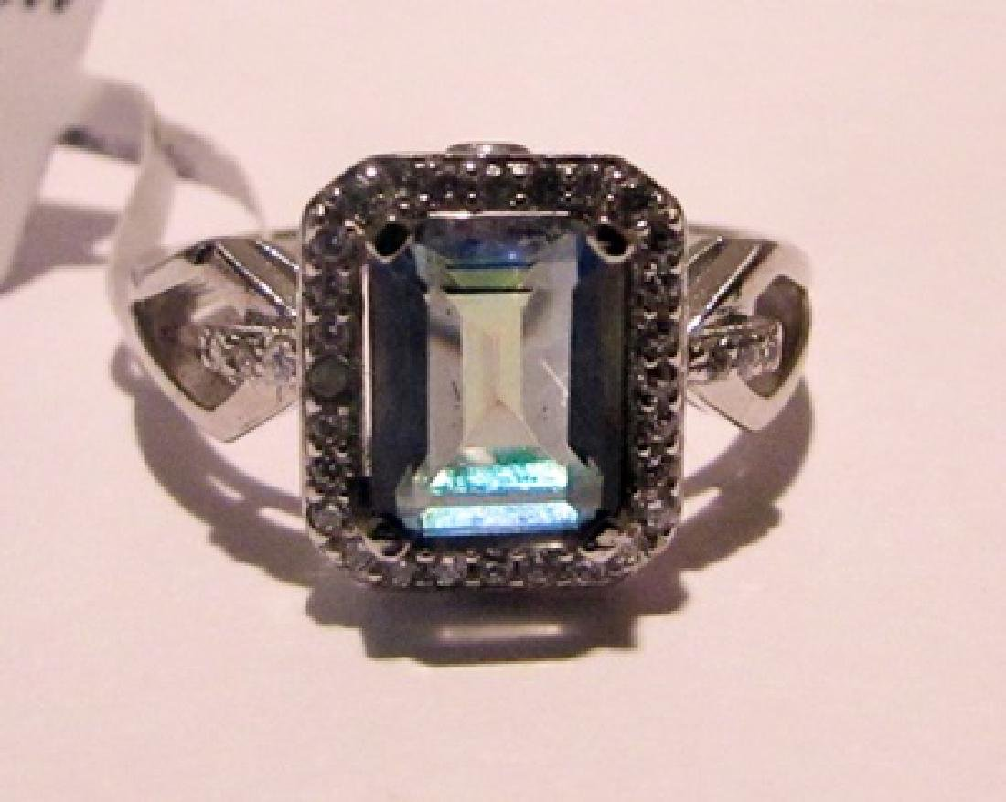 Silver Lab Alexandrite & Diamond Ring