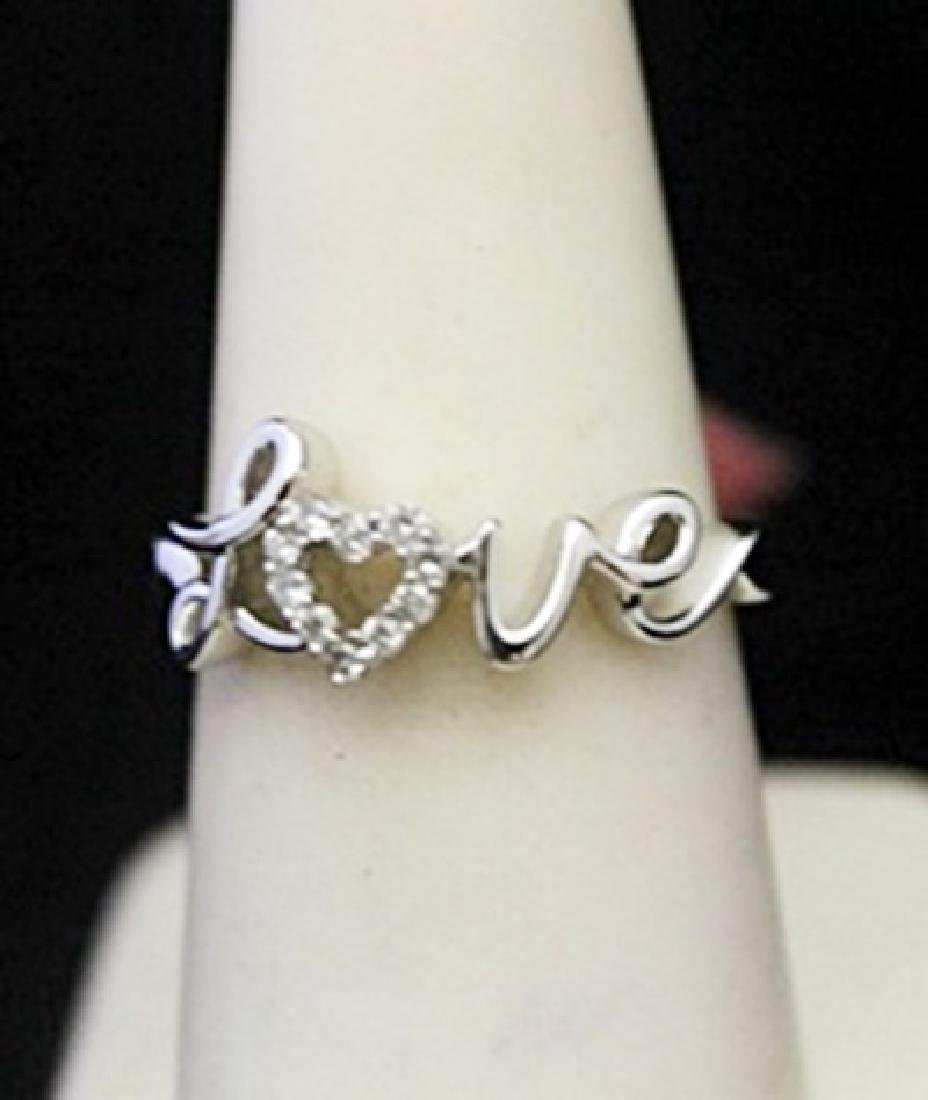 "Beautiful Silver ""Love"" Ring with Heart Shape Diamonds"
