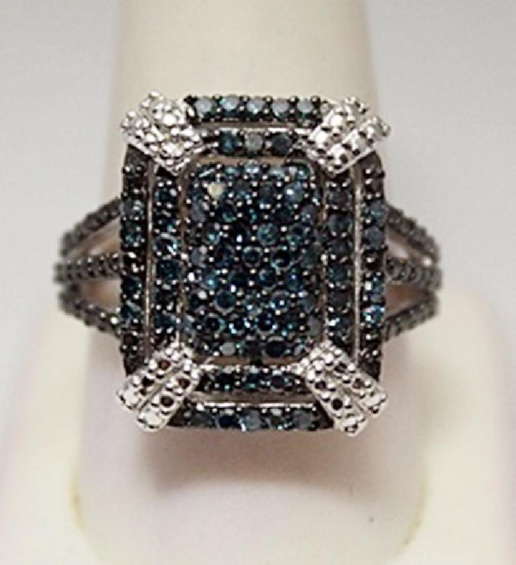 Elegant Blue Diamonds Silver Ring