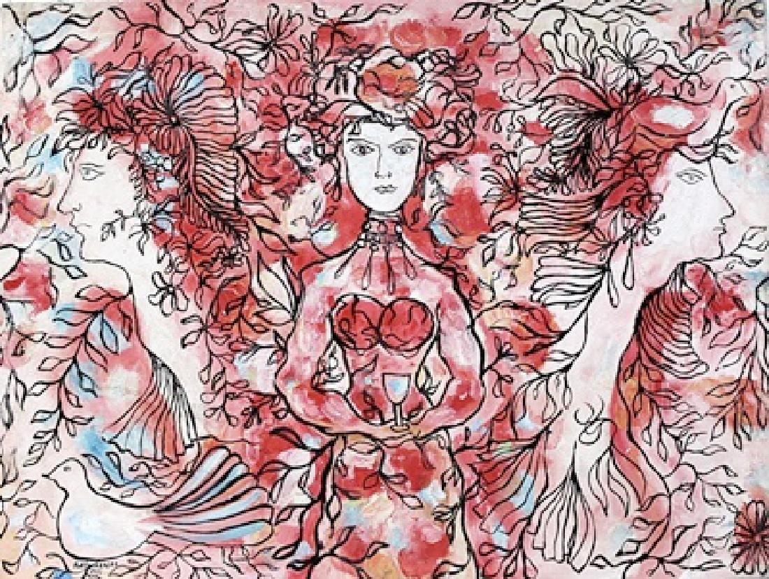 Three Womens - Rene Portocarrero - Oil On Canvas