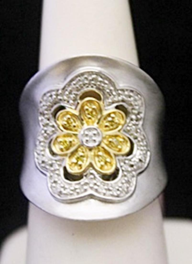 Fancy 14kt over Silver Flower Shape Ring with Diamonds