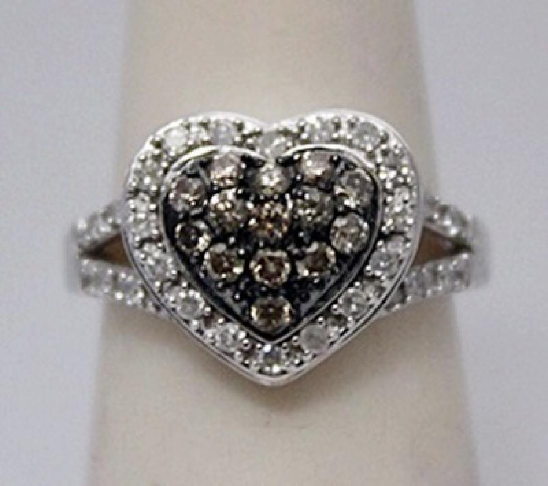 Elegant Heart Shape Champagne & White Diamonds Silver