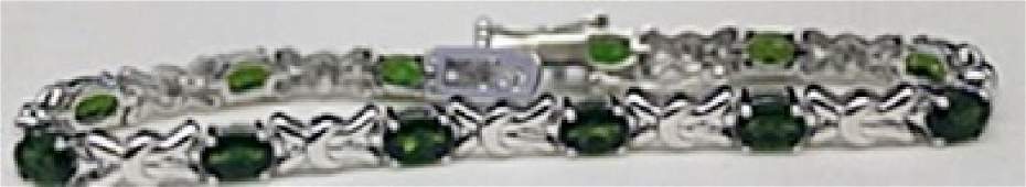 Beautiful Silver Bracelet with Russian Chrome Diopside
