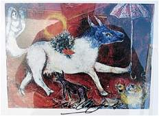 Cow with Parasol - Marc Chagall - Lithograph
