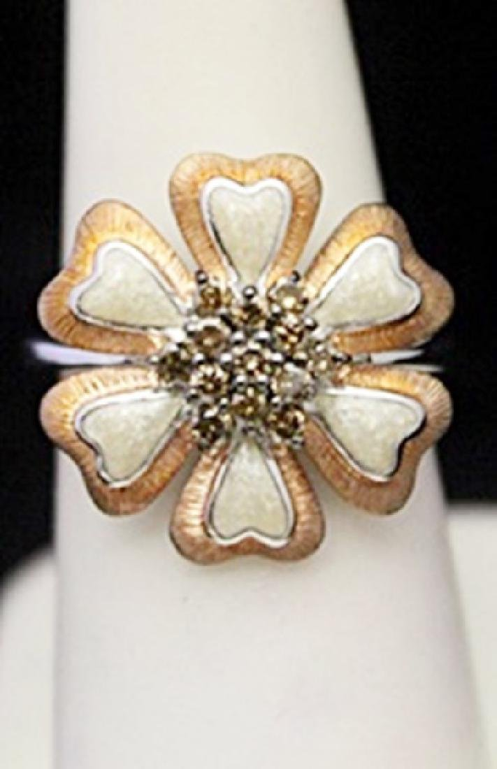 Gorgeous Silver Flower Shape Ring with Mother of Pearl