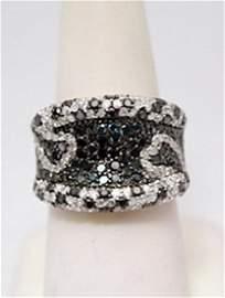 Stunning Black, Blue & White Diamonds Silver Ring
