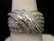 Lady's Fancy 14kt over Silver Ring with Cluster
