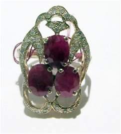 10k  Yellow Gold Ruby & Diamond Ring