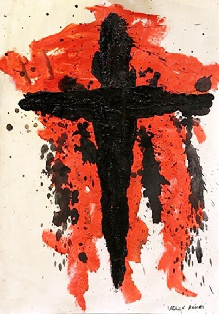Cross - Arnulf Rainer - Oil On Paper