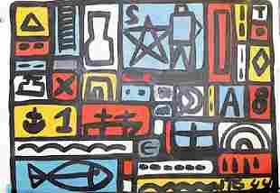 Joaquin Torres Garcia Oil On Paper