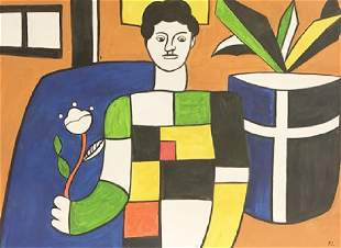 Man With Flower Fernand Leger Watercolor On Paper