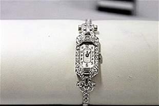 Beautiful Antique Diamonds Baguettes Platinum Watch