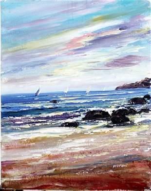 Oil on Canvas Sailboat Scene Madani