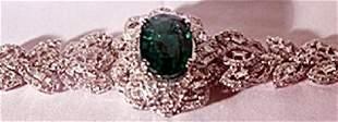 18K Antique Style WhiteGold Columbian Emerald Diamond
