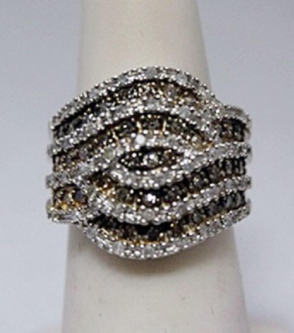 Stunning Champagne & White Diamonds Silver Ring