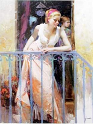 Authentic Giclee on Paper At the Balcony Pino