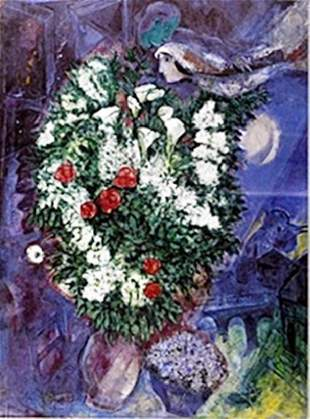 Lithograph Bouqet with Flying Lovers Marc Chagall