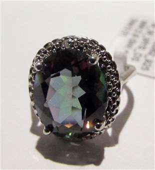 Silver Lab Alexandrite Diamond Ring